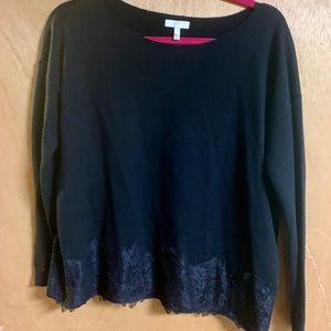 Crop lace trim black wool/cashmere Joie sweater